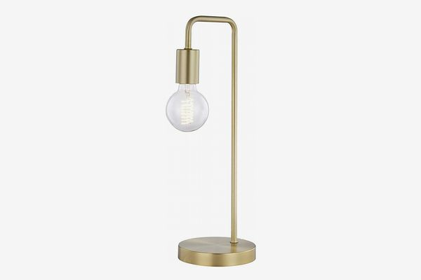 Light Society Brushed Brass Fulton Table Lamp with Exposed Bulb