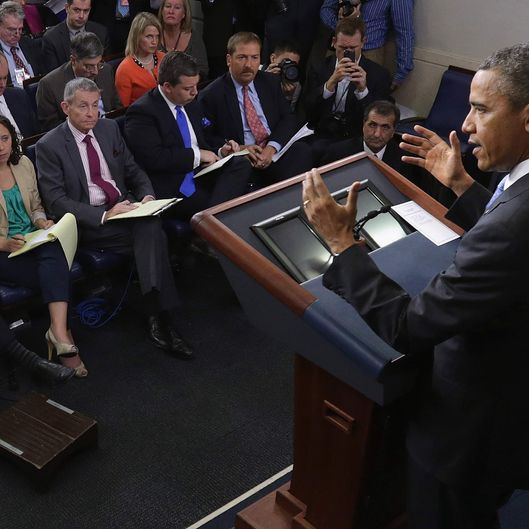 U.S. President Barack Obama holds a news conference in the Brady Press Briefing Room at the White House April 30, 2013 in Washington, DC. The president took questions on a variety of subjects including immigration reform, the ongoing civil war in Syria and the investigation into the Boston Marathon bombings.
