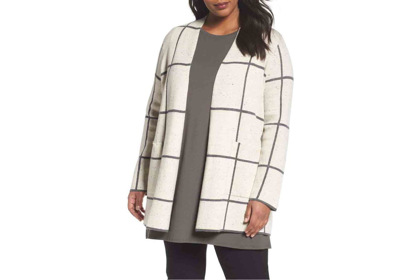 Long Check Knit Jacket, Plus-Size