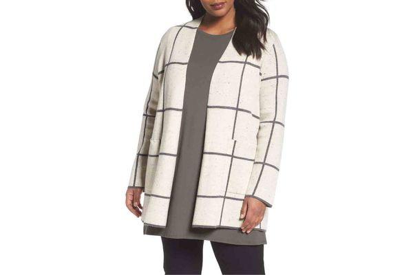 Long Check Knit Jacket, Plus-Size