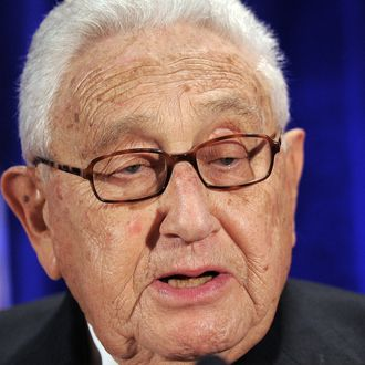 Former US Secretary of State Henry Kissinger speaks to introduce China's Vice President Xi Jinping to leaders from the private and public sectors at a luncheon co-hosted by the US-China Business Council and the National Committee on US-China Relations with the support of several cooperating organizations in Washington, DC, on February 15, 2012. China's heir apparent Xi Jinping told US business leaders Wednesday that the time was ripe for a