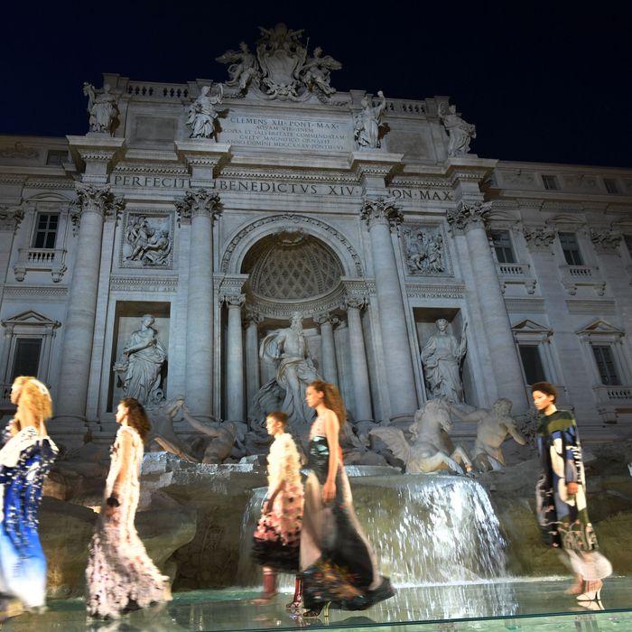 Scenes from Fendi's 90th anniversary show.