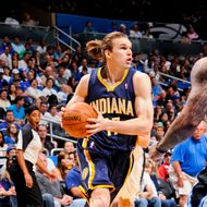 ORLANDO, FL - MAY 5: Louis Amundson #17 of the Indiana Pacers drives to the basket against the Orlando Magic in Game Four of the Eastern Conference Quarterfinals during the 2012 NBA Playoffs on May 5, 2012 at Amway Center in Orlando, Florida. NOTE TO USER: User expressly acknowledges and agrees that, by downloading and or using this photograph, user is consenting to the terms and conditions of the Getty Images License Agreement. Mandatory Copyright Notice: Copyright 2012 NBAE  (Photo by Fernando Medina/NBAE via Getty Images)