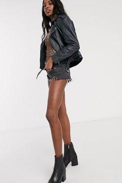 ASOS DESIGN Tall Washed Leather Biker Jacket in Black