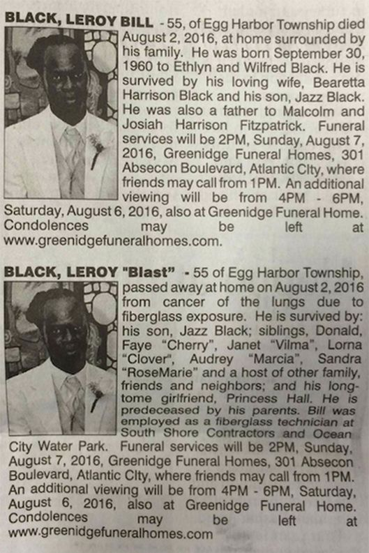 Wife and girlfriend place competing obituaries the cut for Leroy black friday