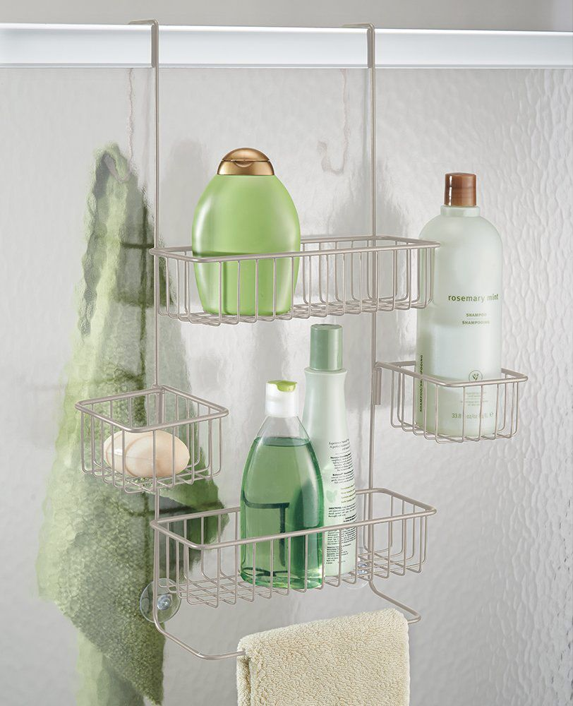 InterDesign Metalo Adjustable Over Door Shower Caddy — Bathroom Storage Shelves for Shampoo, Conditioner and Soap, Satin