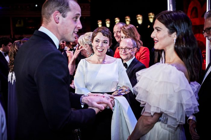 Prince William with Olivia Colman and Rachel Weisz.