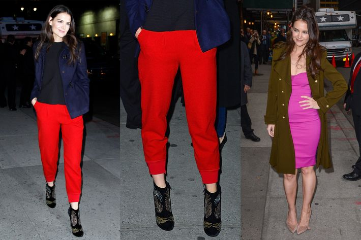 Katie Holmes after Letterman last night.