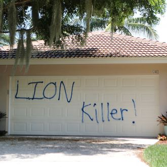 The Florida Home Of Dr. Walter Palmer, The Dentist Who Killed Cecil The Lion, Is Seen Vandalized With Spray Paint And Pigs Feet