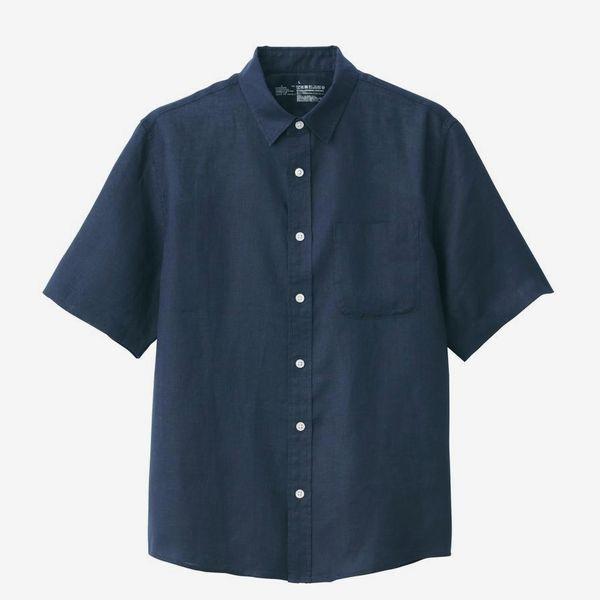 Muji Men's French Linen Washed Short Sleeve Shirt
