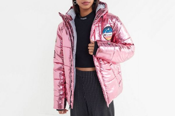 Champion Metallic Zip-Front Puffer Coat