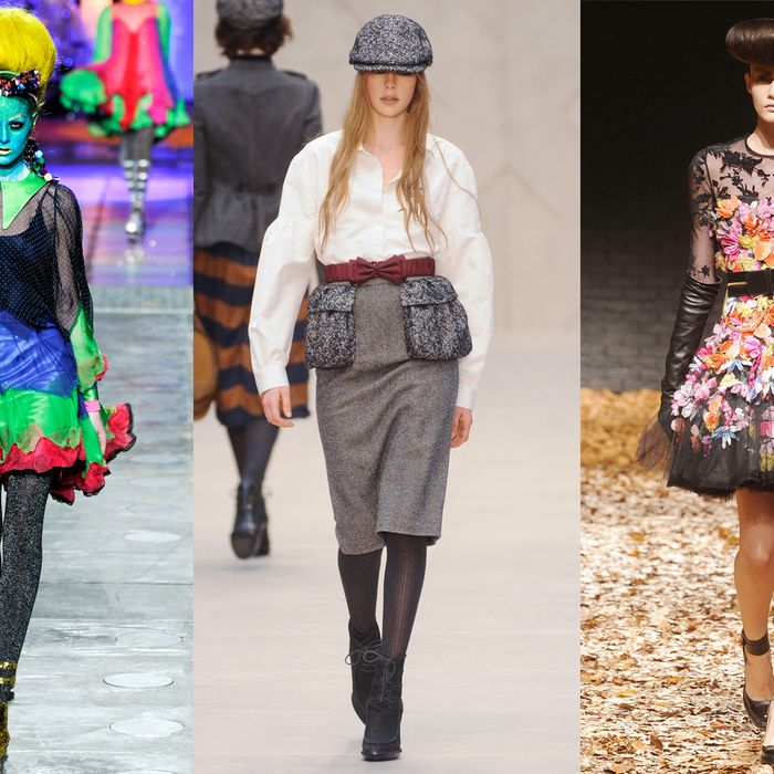 From left: looks from Meadham Kirchhoff, Burberry, and McQ