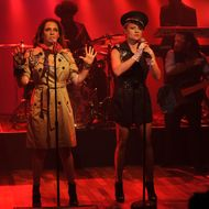 "Maya Rudolph and Gretchen Lieberum perform as Prince cover band Princess during a taping of ""Late Night With Jimmy Fallon"" at Rockefeller Center on September 19, 2012 in New York City."