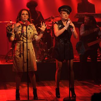 Maya Rudolph and Gretchen Lieberum perform as Prince cover band Princess during a taping of