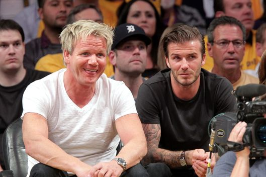 Gordon Ramsay (L) and David Beckham attend the game between the Dallas Mavericks and the Los Angeles Lakers at Staples Center on May 2, 2011 in Los Angeles, California.