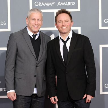 LOS ANGELES, CA - FEBRUARY 12:  (L-R) Musicians Louie Giglio and Chris Tomlin arrives at the 54th Annual GRAMMY Awards held at Staples Center on February 12, 2012 in Los Angeles, California.  (Photo by Jason Merritt/Getty Images)