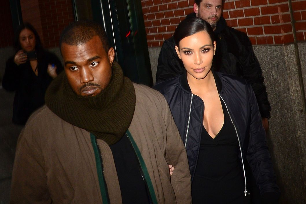 Singer Kim Kardashian and Kanye West are seen in Soho on February 21, 2014 in New York City.