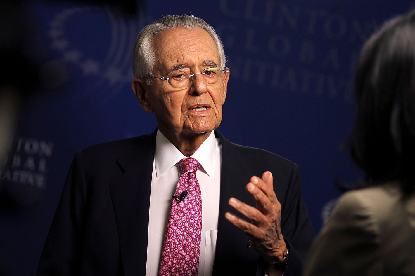 Peter G. 'Pete' Peterson, co-founder of Blackstone Group LP and founder and chairman of the Peter G. Peterson Foundation, pauses during a Bloomberg Television interview at the the annual meeting of the Clinton Global Initiative (CGI) in New York, U.S., on Monday, Sept. 24, 2012. The nonpartisan conference offers participants a forum for networking and building support for projects and financial commitments to alleviate poverty, disease and social obstacles and encourage development.