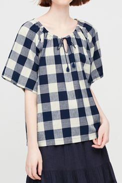 Uniqlo JW Anderson Women's Gathered Short-Sleeve Blouse
