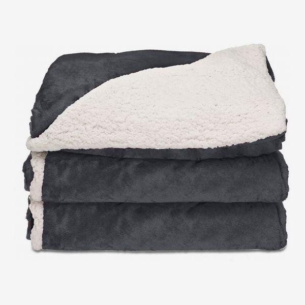 Sunbeam Heated Blanket, Reversible Microplush/Sherpa Throw, Slate