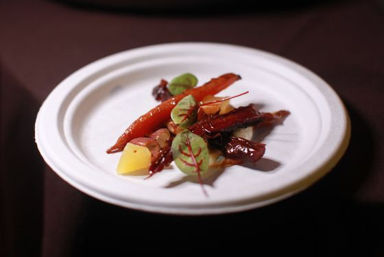 Roasted carrots with burnt honey, yogurt, and almonds from Little Prince.