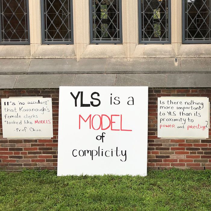 Protest at Yale Law School.