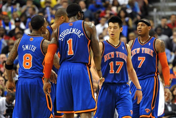 Jeremy Lin #17 of the New York Knicks is congratulated by teammate Amare Stoudemire #1
