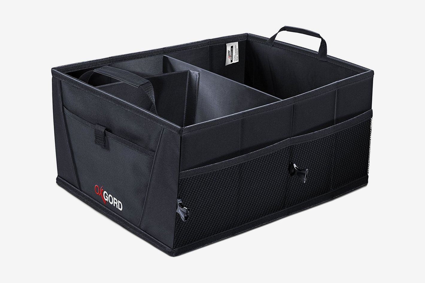 OxGord Auto Trunk Storage Organizer Bin with Pockets — Portable Cargo Carrier Caddy