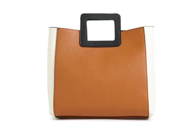 Faux Leather Colorblocked Handbag