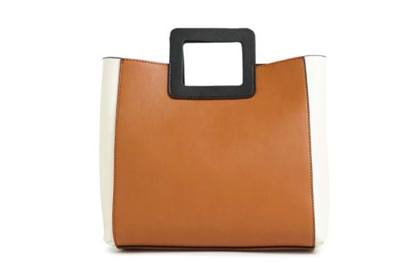 Faux Leather Colorblocked Handbag