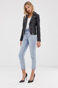 Barney's Originals Clara Real Leather Biker Jacket