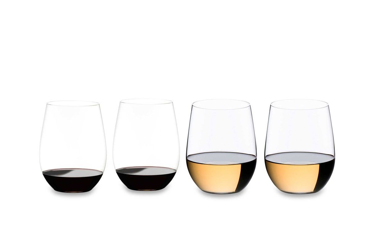 Riedel O Cabernet/Merlot + Viognier/Chardonnay Stemless Wine Glasses, set of 4
