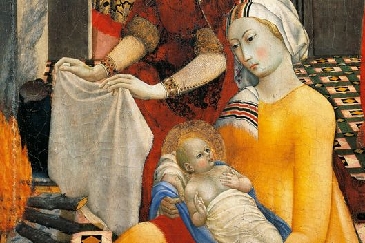 Woman with Virgin, detail from Birth of Virgin, by Master of Osservanza (active 1430-1450)