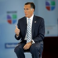 """Republican presidential candidate and former Massachusetts Gov. Mitt Romney participates in a Univision """"Meet the Candidates"""" forum with Jorge Ramos and Maria Elena Salinas in Coral Gables, Fla., Wednesday, Sept. 19, 2012.  (AP Photo/Charles Dharapak)"""