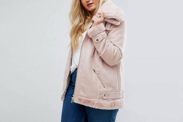 River Island Plus Shearling Aviator Jacket