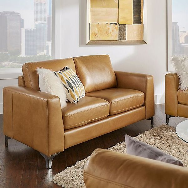 iNSPIRE Q Baldwin Leather Love Seat in Camel