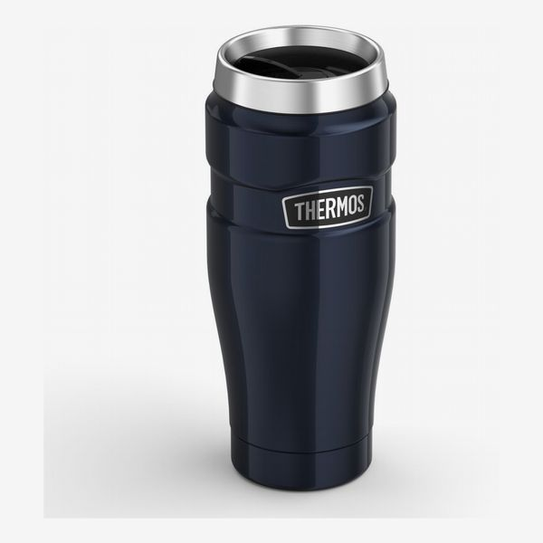 A dark metallic blue travel thermos with chrome accents. The Strategist - There's a Bunch of Thermoses on Sale at Amazon