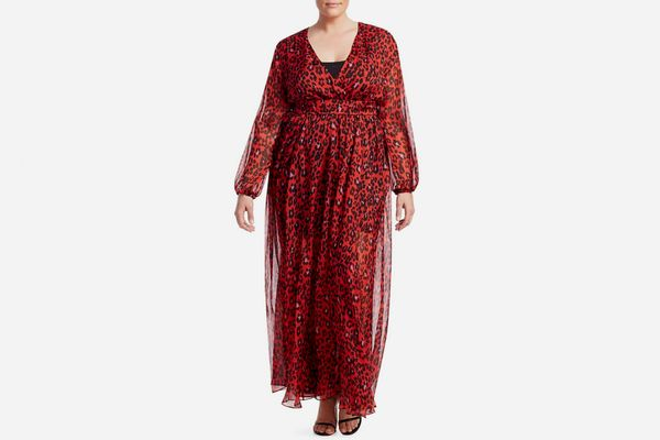 Fausto Puglisi X Marina Rinaldi Animalistic Print Silk Chiffon Dress