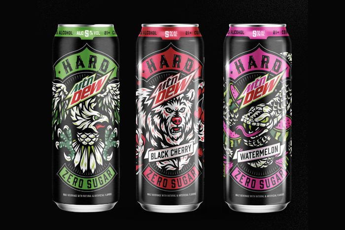 Three cans of Hard MTN Dew in plain, black cherry, and watermelon flavors.