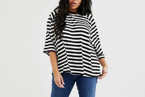 ASOS Design Curve Oversized Boxy T-shirt in Stripe