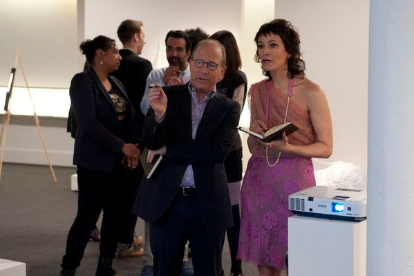 "WORK OF ART: THE NEXT GREAT ARTIST -- ""Art Movement"" Episode 202 -- Pictured: Jerry Saltz, Jeanne Greenberg Tohatyn -- Photo by: David Giesbrecht /Bravo"