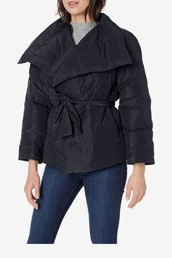 Amazon Brand Lark & Ro Women's Long Sleeve Short Puffer Coat with Wrap