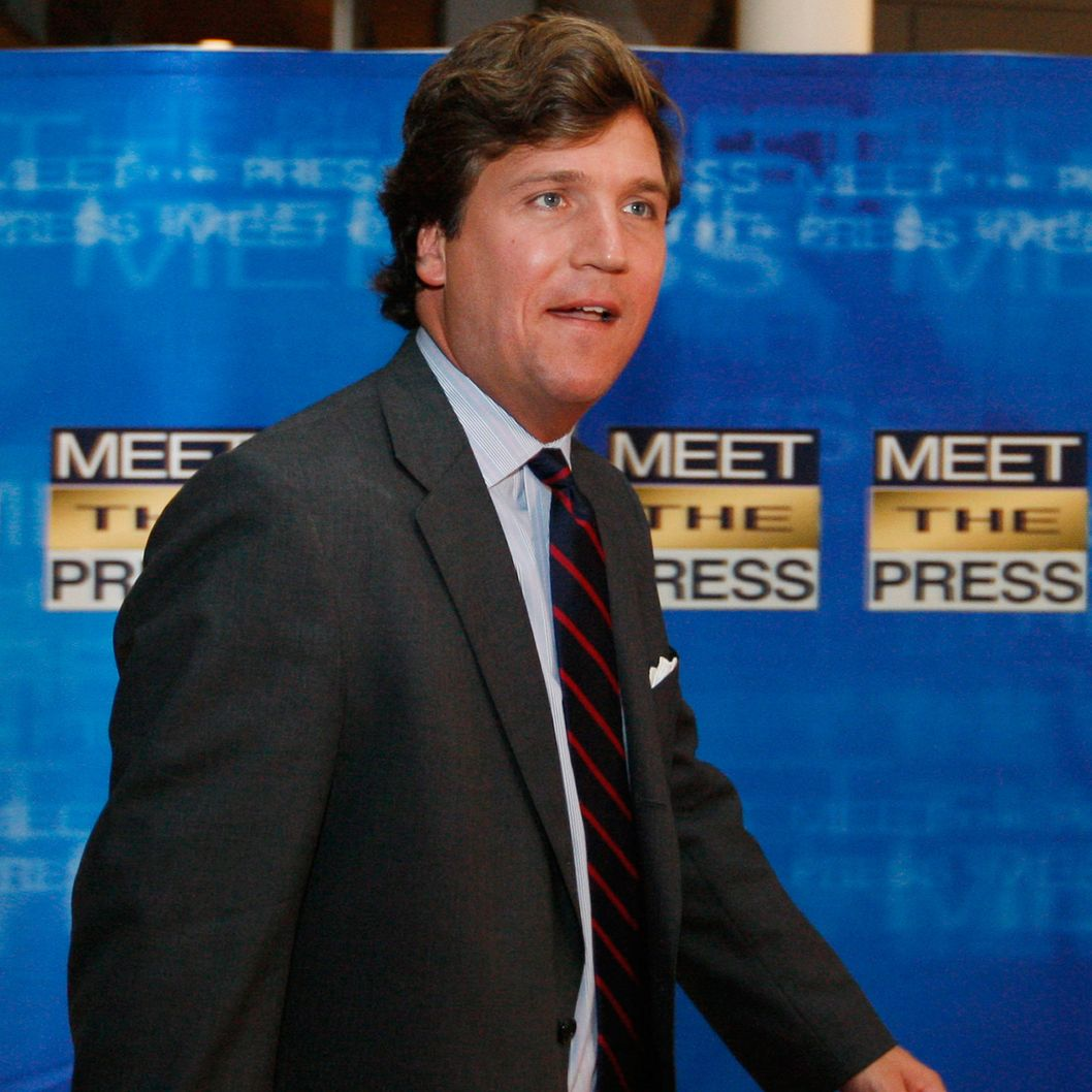 Tucker Carlson arrives for the 60th anniversary celebration of NBC's Meet the Press at the Newseum in Washington.