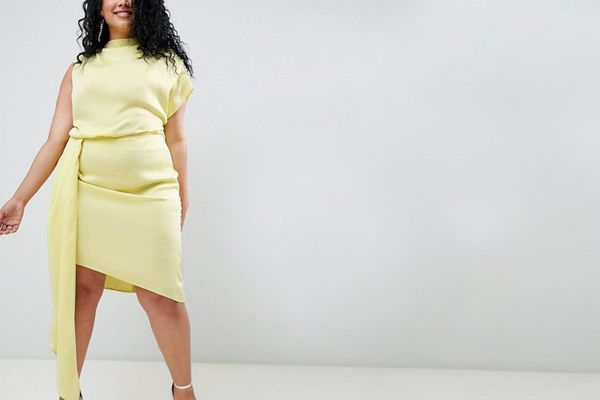 ASOS DESIGN Curve Satin Midi Dress With Sash