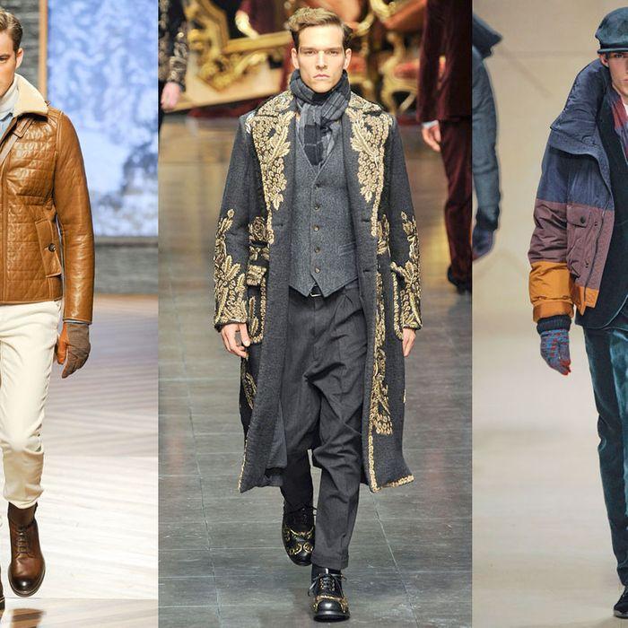 From left: new fall looks from Ermenegildo Zegna, Dolce & Gabbana, and Burberry.