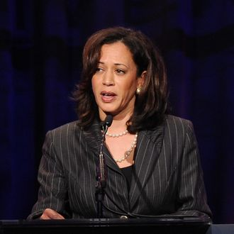 BEVERLY HILLS, CA - MARCH 18: California Attorney General Kamala Harris speaks onstage at the Public Counsel's William O. Douglas Award Dinner held at the Beverly Hilton Hotel on March 18, 2011 in Beverly Hills, California. (Photo by Kevin Winter/Getty Images) *** Local Caption *** Kamala Harris