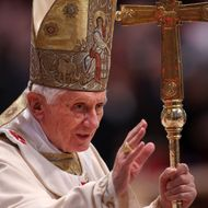 Pope Benedict XVI waves to the faithful as he arrives at the St. Peter's Basilica for a mass with newly appointed cardinals on November 25, 2012 in Vatican City, Vatican.