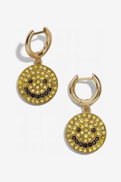 Baublebar Smiley Face Huggie Hoop Earrings