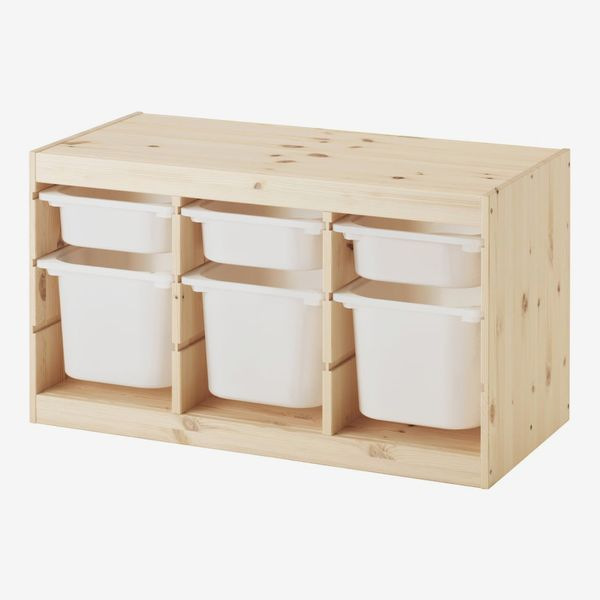 Ikea Trofast Toy Storage in Solid Pine with White Boxes