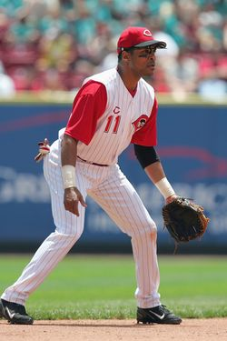 CINCINNATI, OH - JUNE 17:  Barry Larkin #11 of the Cincinnati Reds focuses on home plate as he prepares for a play during the interleague game against the Texas Rangers at the Great American Ball Park on June 17, 2004 in Cincinnati, Ohio.  The Reds defeated the Rangers 4-3.  (Photo by Matthew Stockman/Getty Images)